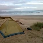 Am Strand haben wir einfach in diesem Zelt geschlafen.